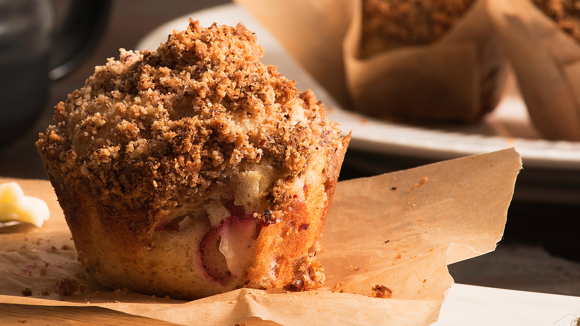Header Muffins and Loafs Rhubarb Muffins with Walnut Streusel