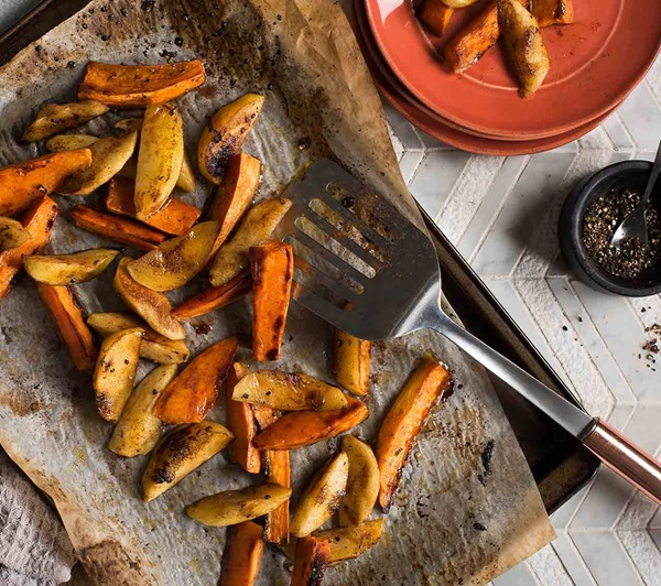 recipe image Cinnamon Roasted Sweet Potatoes & Apples