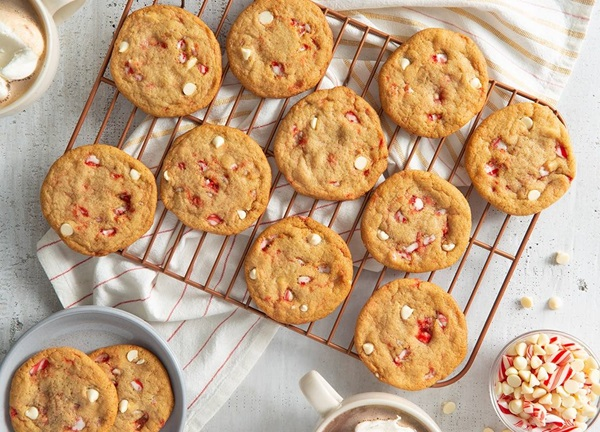 recipe image White Chocolate and Candy Cane Holiday Cookies