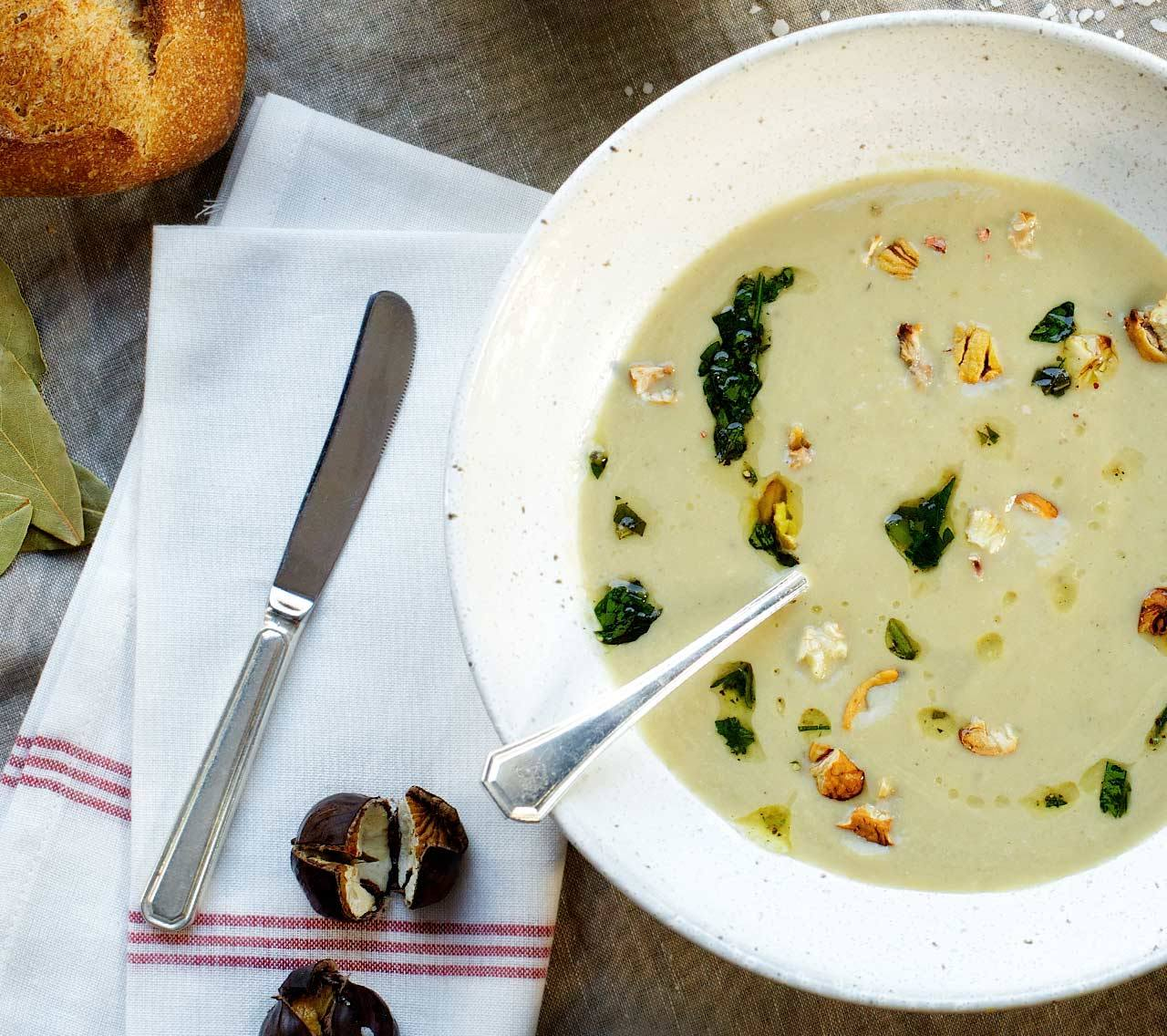 recipe image Sunchoke, Cauliflower & Chestnut Soup with Herbed Toasts