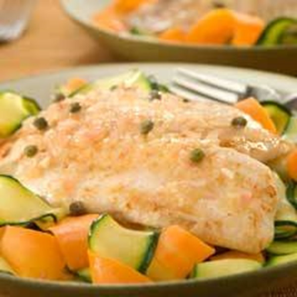 recipe image Tilapia Piccata over Vegetable Ribbons
