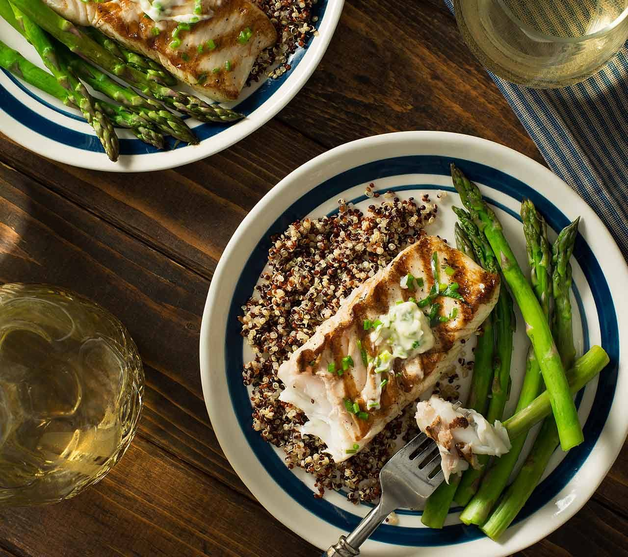 recipe image Grilled Halibut with Lemon, Shallots & Herbs