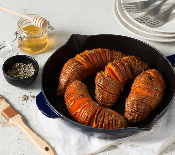recipe image Savoury & Sweet Hasselback Sweet Potatoes