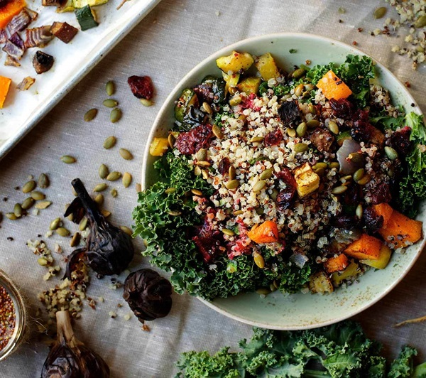 recipe image Hearty Roasted Vegetable and Kefir Lime Quinoa Salad with Black Garlic Vinaigrette