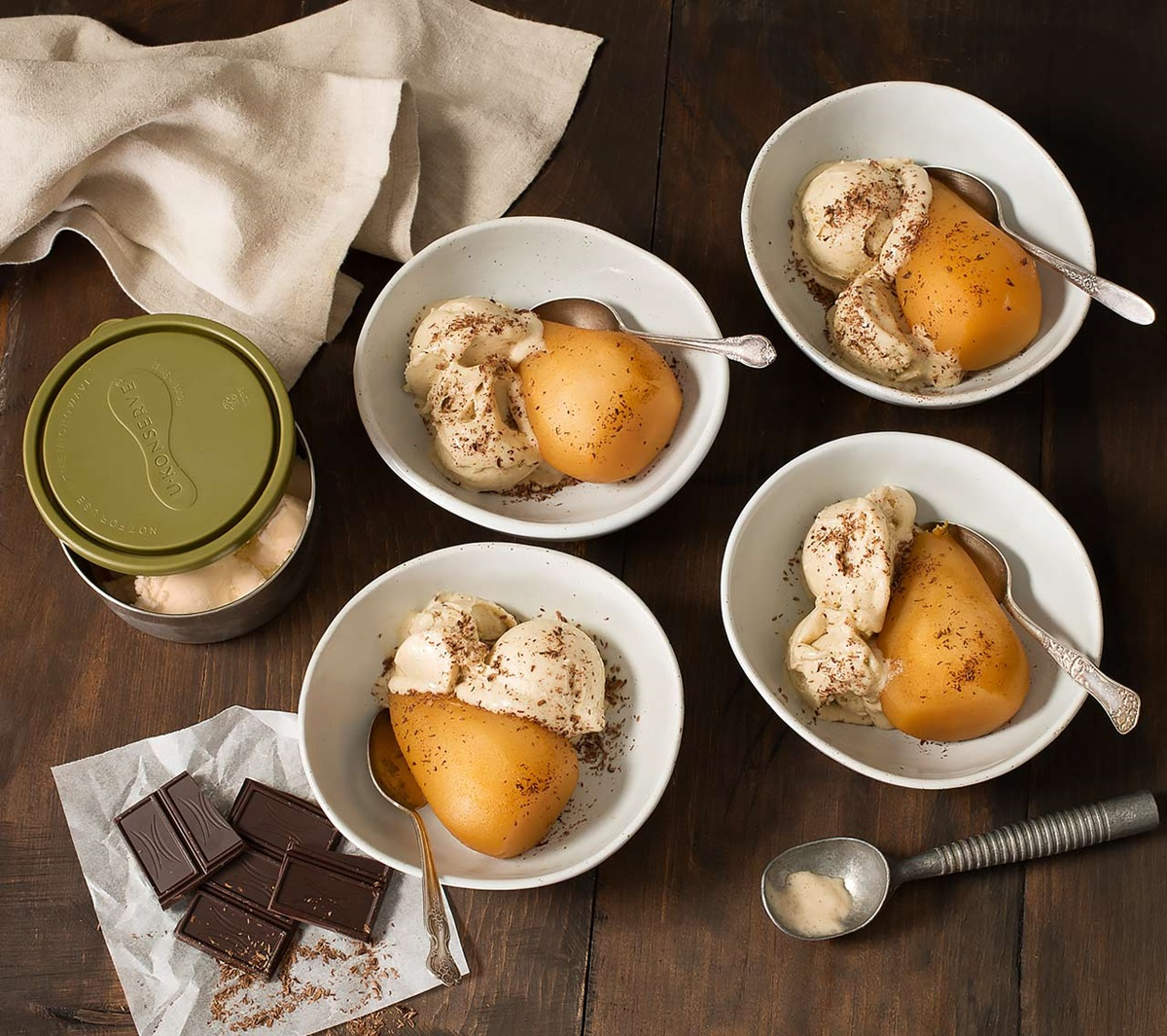"recipe image Apple Cider Poached Pears With Vanilla Bean ""Nice Cream"""
