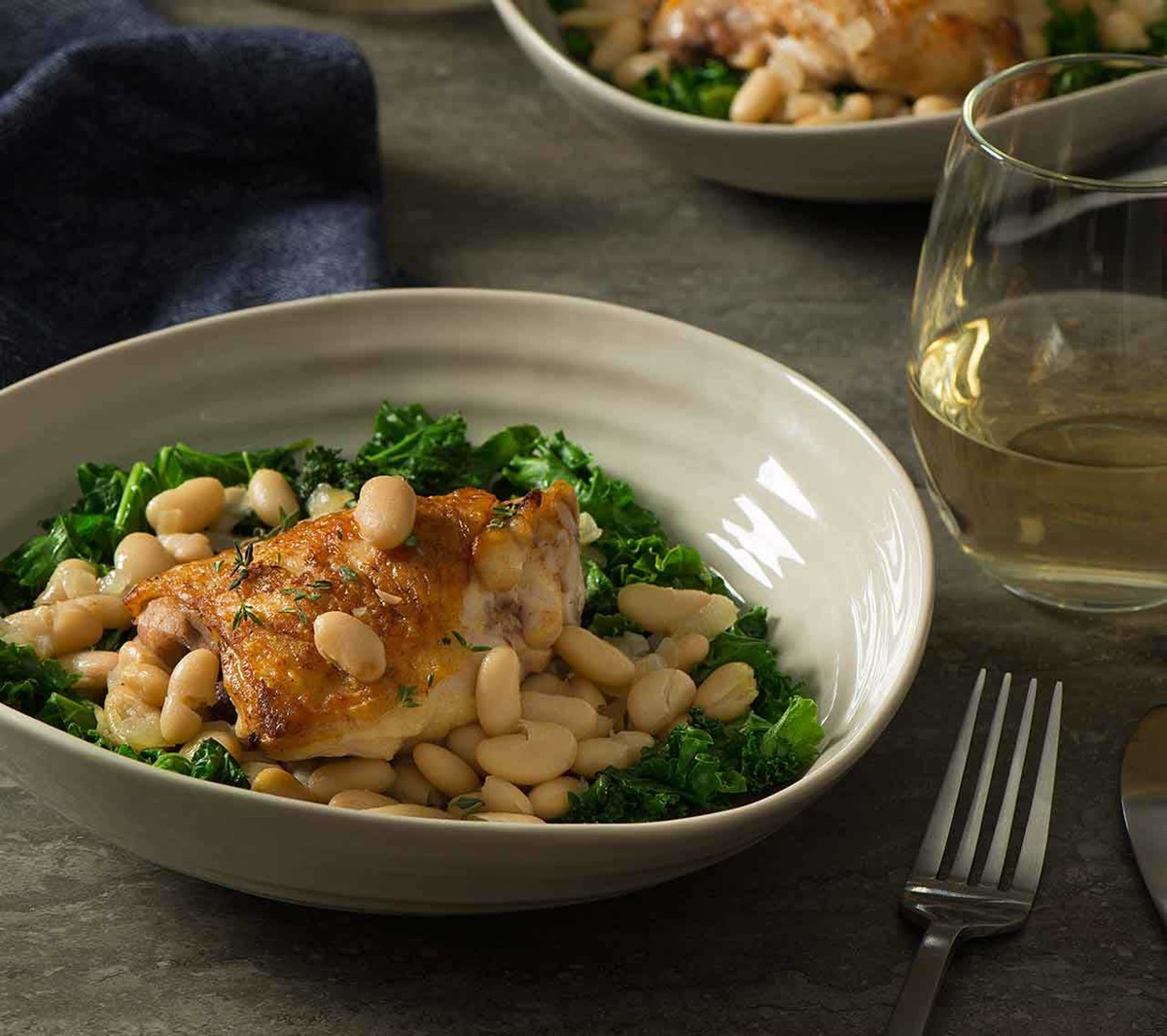recipe image Braised Chicken with White Beans & Kale