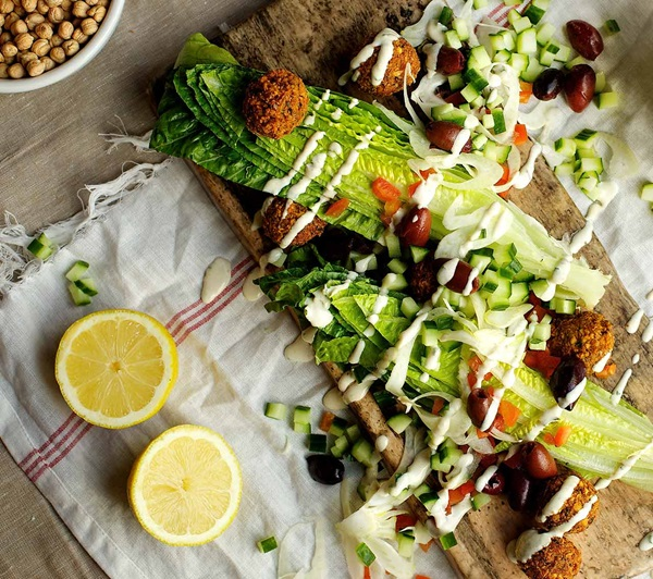 recipe image Falafel Salad With Tahini Dressing