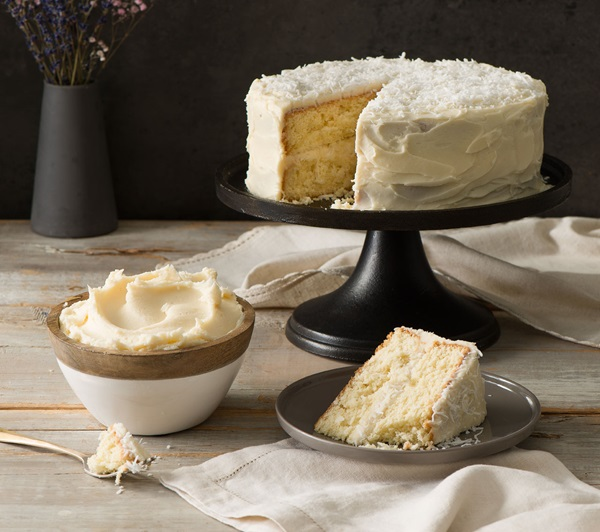 recipe image Coconut Cake with Coconut Cream Cheese Frosting