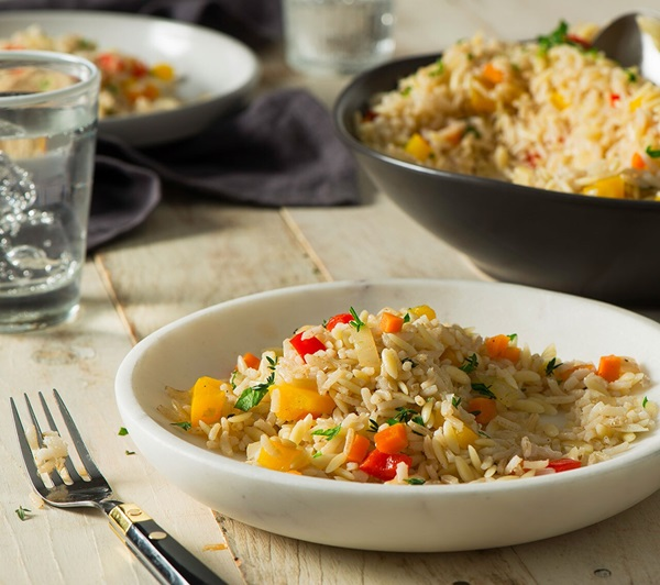 recipe image Brown Rice & Orzo Pilaf with Veggies