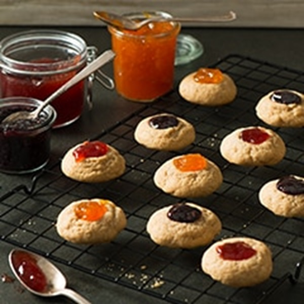 recipe image Raspberry Linzer Thumbprint Cookies