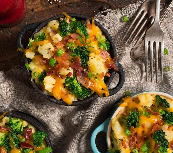 recipe image Loaded Mashed Potatoes with Bacon, Cheddar and Broccoli