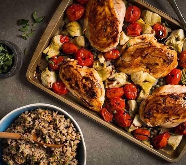 recipe image Roasted Chicken with Artichokes, Tomatoes & Capers