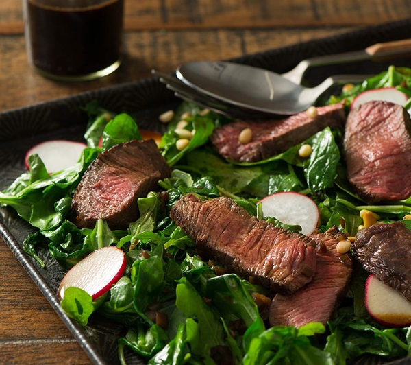 recipe image Pan-Seared Beef with Shallot Vinaigrette & Baby Spinach